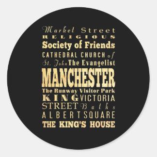 Manchester City of United Kingdom Typography Art Classic Round Sticker