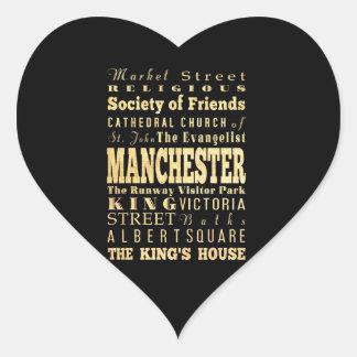 Manchester City of United Kingdom Typography Art Heart Sticker