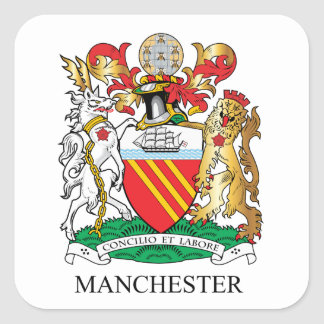 Manchester coat of arms square sticker