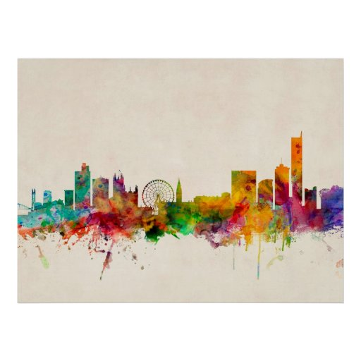 Manchester England Skyline Cityscape Posters