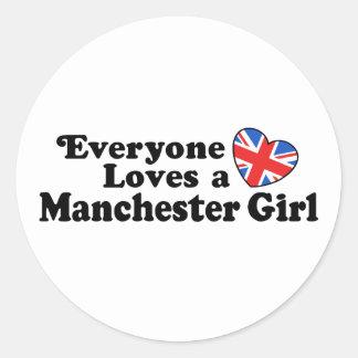 Manchester Girl Round Sticker