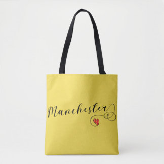 Manchester Heart Grocery Bag, Mancunian Tote Bag