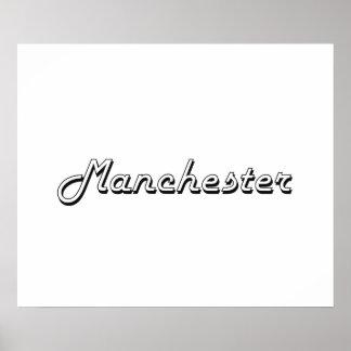 Manchester New Hampshire Classic Retro Design Poster