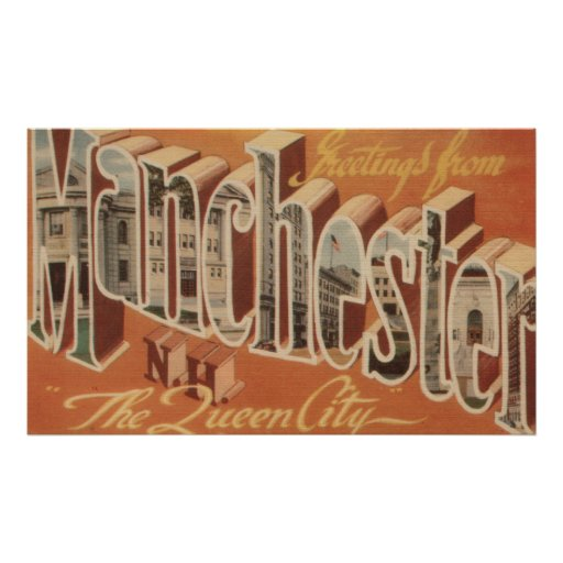 Manchester, New Hampshire - Large Letter Posters