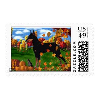 Manchester Terrier Autumn Days Stamp