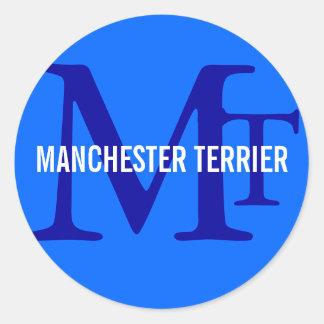 Manchester Terrier Breed Monogram Classic Round Sticker