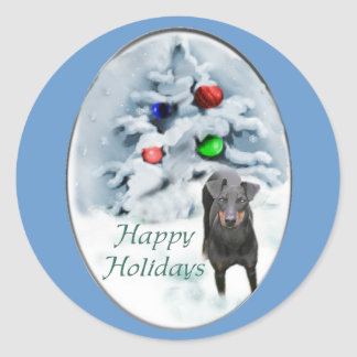 Manchester Terrier Christmas Gifts Classic Round Sticker