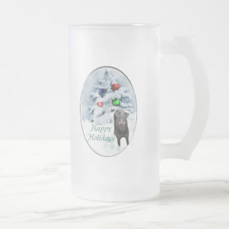 Manchester Terrier Christmas Gifts Frosted Glass Beer Mug