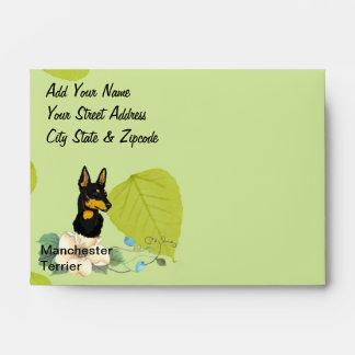 Manchester Terrier ~ Green Leaves Design Envelope