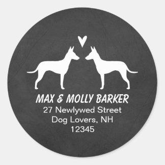 Manchester Terrier Silhouettes Love Return Address Classic Round Sticker