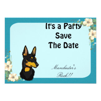 Manchester Terrier - Turquoise Floral Design Personalized Announcements