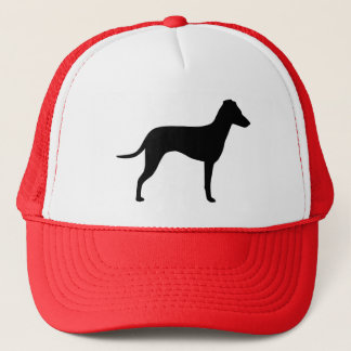 Manchester Terrier with Natural Ears Silhouette Trucker Hat