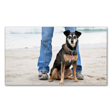 Beach Themed Manchester Terrier X - Jordan - Derr Magnetic Business Card