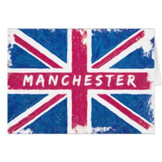 Manchester - Vintage British Union Jack Flag Card