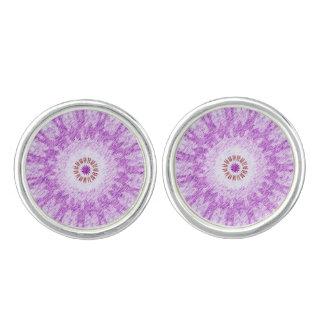 Mancuernas abstractas púrpuras - plata plateada gemelos