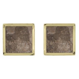 Mancuernas asirias gemelos dorados