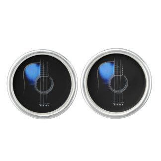 Mancuernas azules de los músicos de la guitarra gemelos