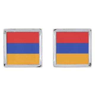 Mancuernas de la bandera de Armenia Gemelos Plateados