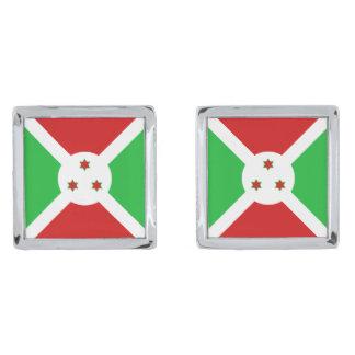 Mancuernas de la bandera de Burundi Gemelos Plateados