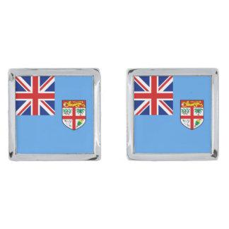 Mancuernas de la bandera de Fiji Gemelos Plateados