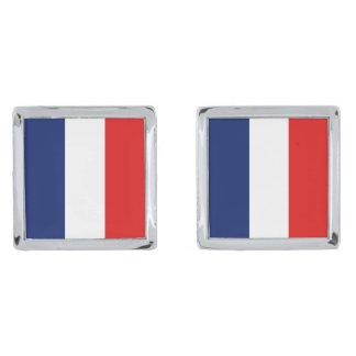 Mancuernas de la bandera de Francia Gemelos Plateados
