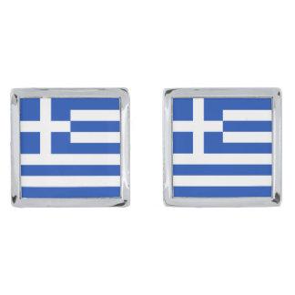 Mancuernas de la bandera de Grecia Gemelos Plateados