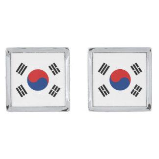 Mancuernas de la bandera de la Corea del Sur Gemelos Plateados