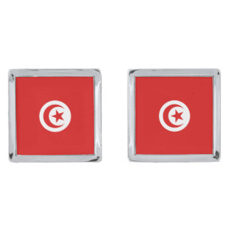 Mancuernas de la bandera de Túnez Gemelos Plateados