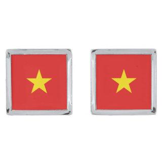 Mancuernas de la bandera de Vietnam Gemelos Plateados