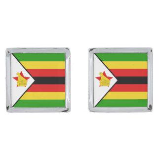 Mancuernas de la bandera de Zimbabwe Gemelos Plateados