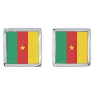 Mancuernas de la bandera del Camerún Gemelos Plateados