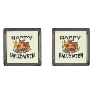 Mancuernas de la calabaza del fiesta de Halloween Gemelos Metalizados