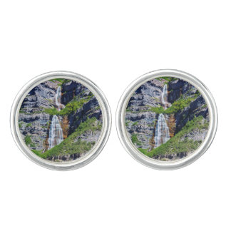 Mancuernas de la plata esterlina de la cascada gemelos