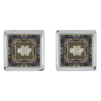 Mancuernas de los diamantes del oro del monograma gemelos plateados