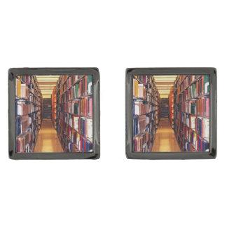 Mancuernas de los estantes de librería de la gemelos plomizos