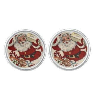 Mancuernas de plata de Santa del navidad del vinta Gemelos
