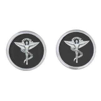 Mancuernas del emblema de la quiropráctica gemelos plateados