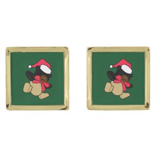 Mancuernas del oso de peluche del navidad gemelos dorados