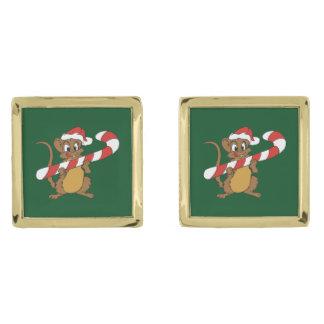 Mancuernas del ratón del navidad gemelos dorados