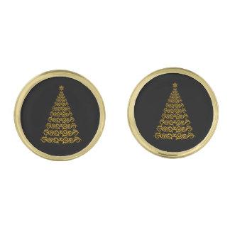Mancuernas elegantes del árbol de navidad gemelos dorados