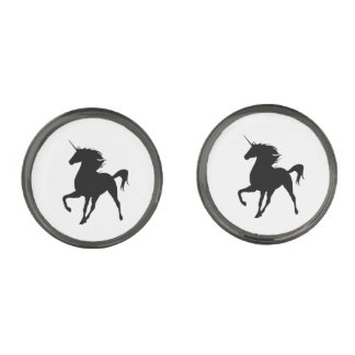 Mancuernas negras de la silueta del unicornio gemelos metalizados