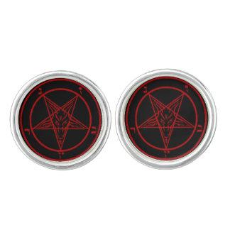 Mancuernas negras/rojas de Baphomet Gemelos