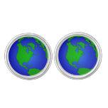 Mancuernas redondas del globo de la tierra gemelos