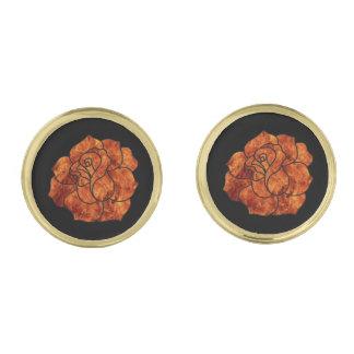 Mancuernas subiós fuego anaranjado gemelos dorados