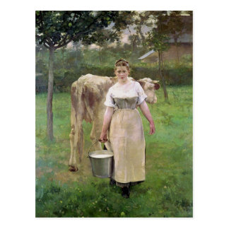 Manda Lametrie, The Farm Maid, 1887 Postcard