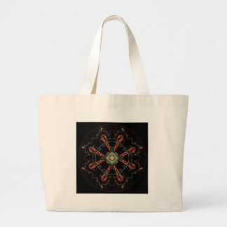 Mandala - 0013 - The Raven and the Sea and Stars P Large Tote Bag