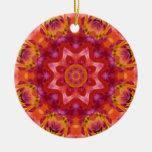 Mandala 05 de la flor adorno navideño redondo de cerámica