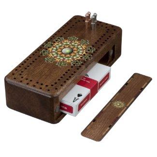 Mandala #1 cribbage board walnut cribbage board