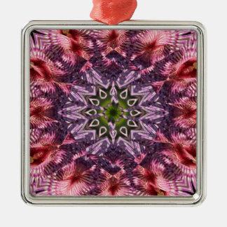Mandala 2015 de la torsión de la flor adorno navideño cuadrado de metal