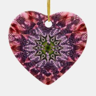Mandala 2015 de la torsión de la flor adorno navideño de cerámica en forma de corazón